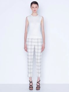 Pants in double face wool crêpe check – Akris US Cuffed Pants, Stylists, Pajama Pants, Legs, Wool, Suits, Check, Face, Dresses