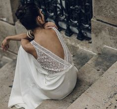 Style Notes: Lace backs with a satin skirt look so great contrasted against each other.