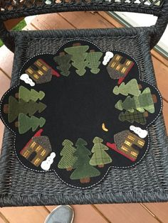 "HAND-STITCHED Primitive Folk Art Wool Applique Table Mat - ""Winter Cabin Table Mat"" (Design by Lisa Bongean)"