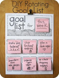 DIY rotating goal list!