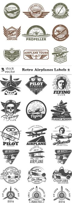 Vectors - Retro Airplanes Labels 2
