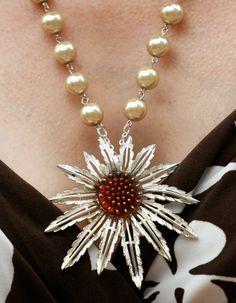 Beautiful Repurposed Sunflower Brooch Necklace by vmlinek on Etsy