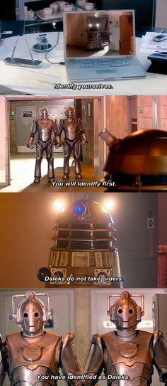 My favorite part of Doomsday is the sassy banter between the Cybermen and the Daleks.