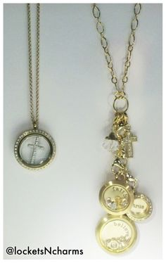 Gold Origami Owl faith inspired chain and lockets