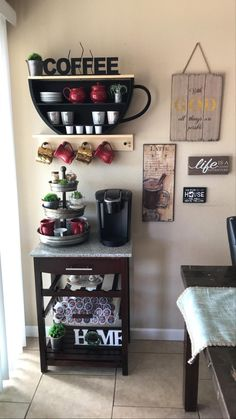Coffee Area, Coffee Nook, Coffee Corner, Coffee Bar Station, Home Coffee Stations, Coffee Bars In Kitchen, Coffee Bar Home, Rustic Kitchen Decor, Farmhouse Kitchen Decor