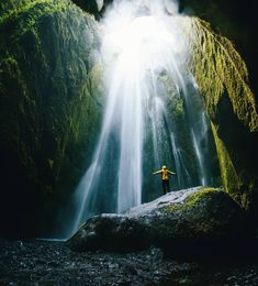 """""""Incredible Iceland! Where else can you walk through a Canyon ending inside a cave next to a waterfall? Gljúfrabúi is right next to the famous…"""""""