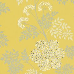 Lacy fern flowers in white and grey on a yellow background. Dimensions: 20.5 inches x 11 yards Repeat: 24.02 inches Half Drop Lead Time: 1-2 Weeks if in stock at mill Order Sample How much wallpaper do I need?