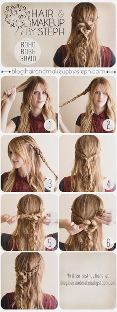 Hair tips and ideas :DIY Braided Hair : Music Festival Series - Boho Rose Braid