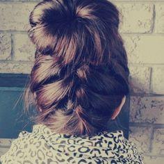 Messy bun, w/ braid underneath