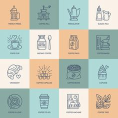 Coffee making equipment vector line icons. Elements - french press, grinder, espresso, cup, beans, croissant, coffee tree. Linear pictogram with editable stroke for restaurant menu.