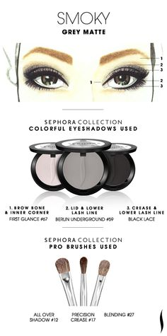 SMOKY: Grey Matte HOW TO. #sephora #sephoracollection  #eyeshadow #mua