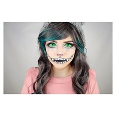 Halloween Special Cheshire Cat Makeup Tutorial using UV Glow Sclera... ❤ liked on Polyvore featuring beauty products
