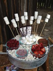 Party Stuff 744782857110304762 - Simple and delicious… make a S'mores bar for your next get-together so guests can create their own special dessert! Sleepover Food, Fun Sleepover Ideas, Sleepover Birthday Parties, Birthday Party For Teens, Birthday Sweets, 21st Birthday Decorations, Girl Sleepover, Ideas For Sleepovers, Bonfire Decorations