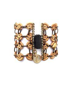 Ivory lace bracelet. Bronce brooch #rock #jewelry #style #trend