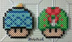 As requested by , here we have a Christmas bulb decoration and a cute little wreath shrooms! MERRY CHRISTMAS EVERYONE! Christmas Bulb and Wreath Mushrooms Melty Bead Patterns, Perler Patterns, Beading Patterns, Perler Bead Ornaments Pattern, Perler Bead Templates, Christmas Crafts, Christmas Bulbs, Christmas Patterns, Pixel Art