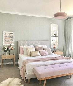 23 Pastel Bedroom for Graceful and Calm Atmosphere in Your Private Space Pastel Bedroom, Bedroom Colors, Home Decor Bedroom, Bedroom Ideas, Bedroom Inspo, Bedroom Scene, Serene Bedroom, Suites, Bedroom Styles