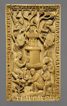 Three Holy Women at the Sepulcher, early 10th century  Northern Italy (Milan?)  Elephant ivory  This ivory plaque representing the Easter miracle of Christ's resurrection from the dead probably once served as part of a decorative cover for a liturgical manuscript.