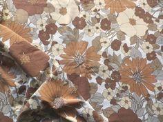 Vintage 1970's Poly-Cotton Fabric Retro Big Flower Design Brown Cream | eBay