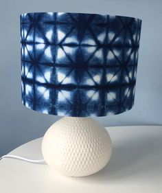 Shibori lampshade. Kikko right angle folding, Japanese indigo on cotton. Rob Jones, Alexandra Palace, May 2016 www.romordesigns.com