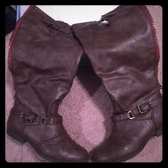 Riding boots Brown riding boots. Red up the back of zipper. Haven't worn in 2 winters.  Fast shipper!  no trades. 15% off bundles. Soda Shoes Combat & Moto Boots