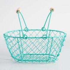 One of my favorite discoveries at WorldMarket.com: Mini Aqua Wire Baskets Set of 2