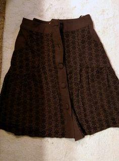 Brown eyelet skirt
