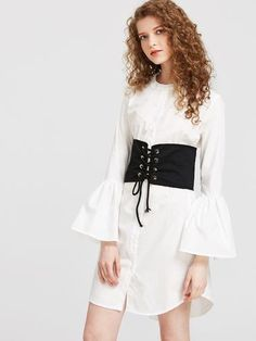 Bell Sleeve Shirt Dress With Obi Detail - Dresses - Zooomberg - Zoomberg