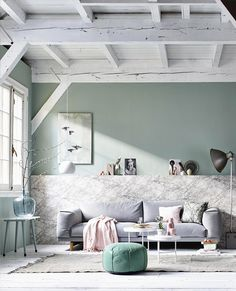 Pastel and marble living room with light blue accessories / grey couch / white wooden floor Interior Pastel, Interior Styling, Interior Design, Interior Photo, Modern Interior, Living Room Interior, Home Living Room, Living Spaces, Living Furniture