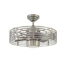 Kendal Lighting Enclave 23-in Satin Nickel Downrod Mount Ceiling Fan with Light Kit and Remote Control
