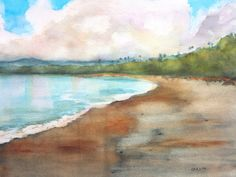 Tropical Beach landscape - ORIGINAL Watercolor Painting Hand Painted by Carlin Blahnik ~ Not a print ~  SIZE - 11x14 Original Painting Easily fits 16x20 store bought frames with 10.5x13.5 mat window. Frame in photo is shown as an example only. Painting is sold unframed.  QUALITY - You get the unique Original Painting - Professional Artist Quality Watercolor Paints - Acid-free 140 lb 100% cotton fiber Watercolor paper Ensures enjoyment for generations, looking as fresh as the day it was…