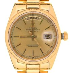 Mellors & Kirk | Antique and Collector | Lot 87 This attractive ROLEX OYSTER PERPETUAL DAY AND DATE 18CT GOLD GENTLEMAN'S WRISTWATCH sold for a hammer price of £4200 plus premium in our Antique & Collectors Sale today. Wear Watch, Antique Collectors, Rolex Oyster Perpetual, The Collector, Oysters, Gold Watch, Auction, Watches, Antiques