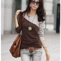 Women Cotton Coffee Top Shirt One Size WH0384c from efoxcity