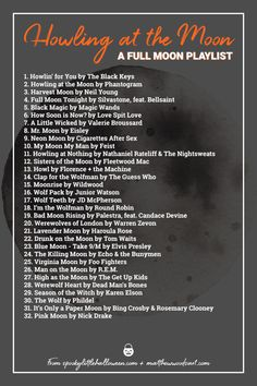 Howling at the moon tonight? Not without this full moon playlist! Check out this collection of songs from Spooky Little Halloween and Matthew Woods Art. Halloween Songs, Halloween Party, Halloween Ideas, Halloween Playlist, Halloween Images, Music Mood, Listening To Music, Full Moon Tonight, How Soon Is Now