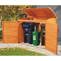 Garbage can storage shed: garbage storage. Link no longer works: it's a product from Costco that apparently they don't carry anymore. Anyone know the manufacturer? Garbage Can Storage, Garbage Shed, Plastic Storage, Wood Storage Sheds, Bin Storage, Storage Ideas, Kayak Storage, Bicycle Storage, Carport Storage