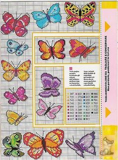 Cross stitch butterflies and chart. Beautiful butterflies could be made using beads with brick stitch
