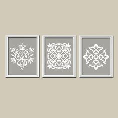 Grey Gray White Ornament Design Artwork Set of 3 Trio Prints Bedroom Kitchen Bathroom Wall Decor Abstract Art Picture Silhouette
