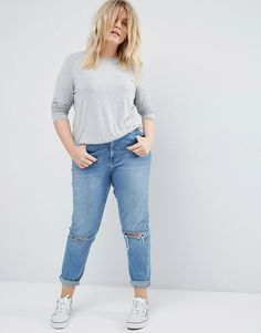 ASOS CURVE Long Sleeve Top With Skinny Crew Neck