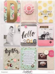 POCKET SCRAPBOOK LAYOUT ~ Such a pretty layout, love the little strips of journaling.