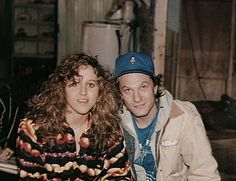 """Brooke Smith and Ted Levine on the set of The Silence of the Lambs.  They became really good friends off screen, causing Jodie Foster to nickname Brooke, """"Patty Hearst""""."""
