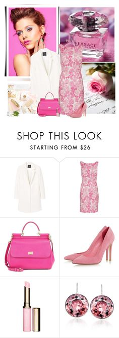 """Pink Dress"" by sherry7411 on Polyvore featuring MANGO, Gina Bacconi, Dolce&Gabbana, Clarins and Swarovski"