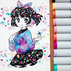 Amo el l efecto que dan los triángulos /Ú//7//U #colorfull #copicmarkers #copicsketch #kawaii #cute #kawaiiart #prettygirl #copicpaper