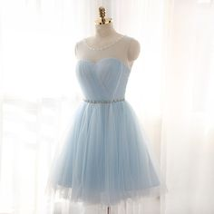 Lovely Light Blue Short Tulle Ball Gown Handmade Prom Dresses, Homecoming Dresses, Cute Prom Dresses