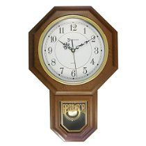 "17"" Essex Westminster Faux Wood Pendulum Wall Clock w/ Glass Face, Walnut"