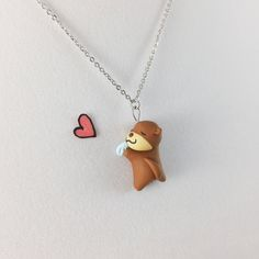 Kawaii Otter Necklace // Kawaii Polymer Clay Sea Otter Jewelry // Polymer Clay Gift by CrownedClay on Etsy