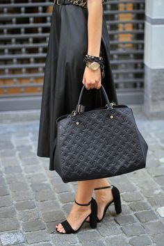 LV Black Embossed Leather Tote