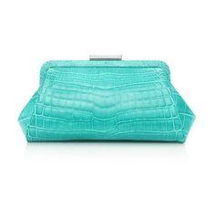 Gorgeous Crocodile Leather Tiffany Blue Clutch Handbag #tiffany #bags #leather