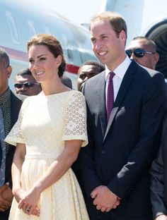 Day 8 Diamond Jubilee Tour: Prince William & Kate Middleton leaving the Solomon Islands. Kate's in a pale yellow eyelet dress (independent dressmaker). - 18 Sept 2012
