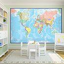 Giant World Map Mural - Blue Ocean, Maps International Giant World Map, World Map Mural, World Map Decor, World Map Wallpaper, Kids Room Wallpaper, Of Wallpaper, Cool Kids Bedrooms, Small Bedrooms, Kids Bedroom Furniture