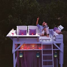 How wonderful would it be to sit up high on a clear night and look at the stars!    I adore this outdoor loft because all the family would enjoy it (for example, rather than a cubby house). Thinking, thinking. It may work to convert a loft bunk bed into a smaller version.