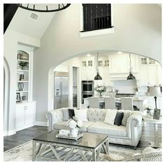 Bright White Modern Open Plan Kitchen Living